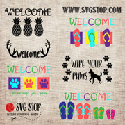 Welcome Mat Bundle of 6 SVG, DXF, JPG, PNG, and EPS format cut file clipartdesigns for Silhouette, Cricut, Brother Scan n cut, andvarious other cutting machines.