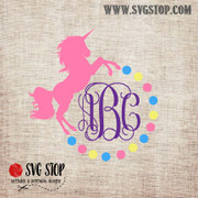 Unicorn Monogram Frame Freebie SVG, DXF, JPG, PNG, and EPS format cut file clipartfor Silhouette, Cricut, Brother Scan n cut, andvarious other cutting machines.