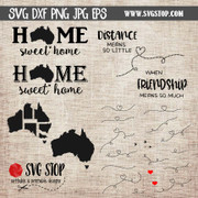 Australia Home Sweet Home and State to State cut file clip art