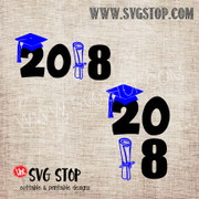 2018 Cap and Diploma Graduation SVG, DXF, JPG, PNG, and EPS format cut file clipart