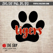 tiger paw knock out clip art cut file