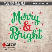 merry and bright svg clipart cut file christmas