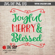 joyful merry and blessed svg clipart cut file christmas