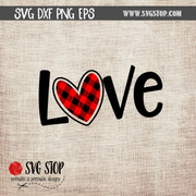Love with Buffalo Plaid Heart clip art valentines day svg cut file