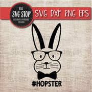 Hipster Hopster bunny easter svg clipart cut file