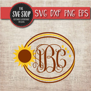 sunflower circle monogram frame svg clipart cut file
