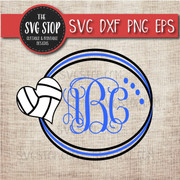 volleyball heart circle monogram frame svg clipart cut file