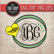 track cross country heart circle monogram frame svg clipart cut file