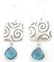 A BLUE TOPAZ BRIOLETTE PROTECT EARRING