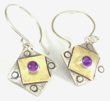 "A Square x2 with Amethyst Earring  with ""Pretect this Woman"""