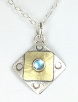 "A Square X2 Blue Topaz Necklace with ""Protect this Woman"""