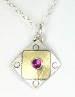 "A Square X2 Rhodolite Garnet Necklace with ""Protect this Woman"""