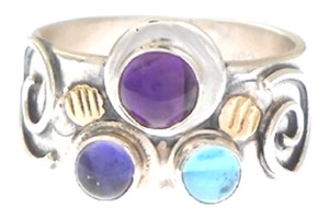 THREE STONE RING,  AMETHYST
