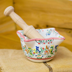 """Hand-Painted Mortar and Pestle 7.5"""" x 3.5"""""""