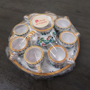 Hand-Painted Ceramic Espresso Set by Cruz