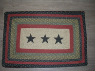 "20"" x 30"" Jute Braided Rug with painted Black Stars PP-238"