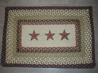 "20"" x 30"" Jute Braided Rug with painted Black Barn Stars PP-19"