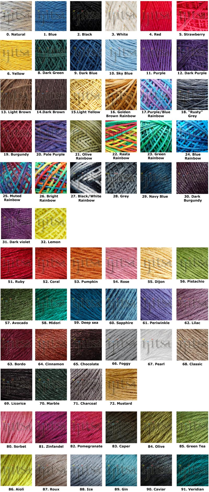 Color of Hemp, Natural, Blue Black, White, Red, Dark Red, Yellow, Light Green, Dark Green, Dark Blue, Sky Blue, Golder Brown, Dark Purple, Light Brown, Dark Brown, Light Yellow, Golden Brown Rainbow, Purple/Blue Rainbow, Rusty Gray, Burgundy, Light Purple, Olive Rainbow, Rasta Rainbow, Green Rainbow, Blue Rainbow, Muted Rainbow, Bright Rainbow, Black/White Rainbow, Gray, Navy Blue, Dark Burgundy, Ruby, Coral, Pumpkin, Rose, Dijon, Pistachio, Avocado, Midori, Deep Sea, Sapphire, Periwinkle, Lilac, Bordo, Cinnamon, Chocolate, Foggy, Pearl, Classic, Licorice, Marble, Charcoal
