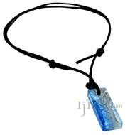 Rectangular Light Blue/Clear Glass Block Pendant , Adjustable leather necklace
