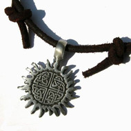 Surfer style Adjustable Necklace/Choker with pewter pendant Celtic Knot Sun