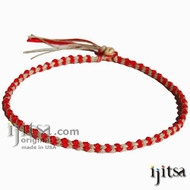 Soft Red & Natural Hemp Chain Surfer Style Choker/Necklace