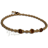 Natural thick twisted hemp brown bone beads surfer choker necklace