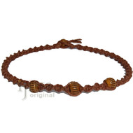 Light brown twisted hemp brown bone beads choker necklace