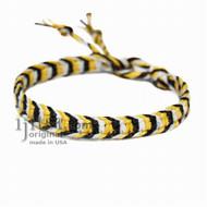 Yellow, white and black hemp bracelet or anklet