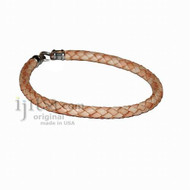 6mm natural braided leather bracelet or anklet metal clasp