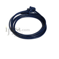 3mm Blue leather adjustable surf wrap bracelet