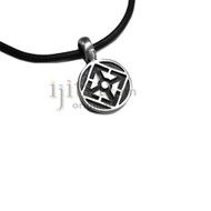 Adjustable leather cord pewter Round with 4 arrows pendant