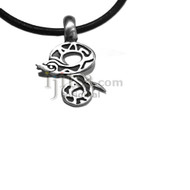 Adjustable leather cord necklace pewter Snake pendant