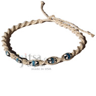 Natural twisted hemp necklace with Peruvian Ceramic Beads