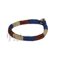 Leather Bracelet wrapped with Dark Blue, Dark Brown and Natural hemp