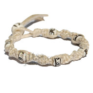 Natural twisted hemp bracelet or anklet with small white bone beads throughout