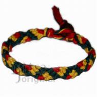 Dark green, yellow and red hemp Snake bracelet or anklet