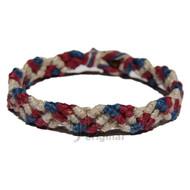 Natural, burgundy and dark blue hemp Snake bracelet or anklet