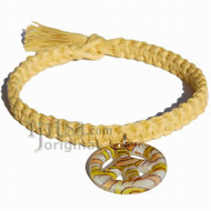 Light yellow flat wide hemp necklace with yellow/orange Murano glass Peace