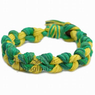 Wide Green Rainbow and Yellow hemp chain bracelet or anklet