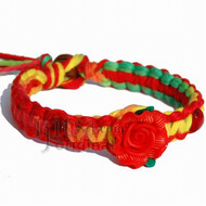 Red and rasta rainbow flat hemp bracelet with red clay rose