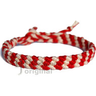 Red hot and snow white diagonal cotton bracelet or anklet