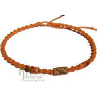 Pumpkin twisted hemp, ceramic Arrow through heart necklace