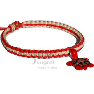 Red and natural flat wide hemp necklace with red glass Turtle