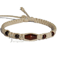 Natural flat wide hemp necklace with Dark brown wooden beads