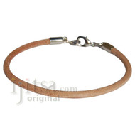 3mm round natural leather bracelet or anklet, metal clasp