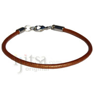 3mm round metallic Cooper leather bracelet or anklet, metal clasp
