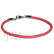 3mm round pink leather bracelet or anklet, metal clasp