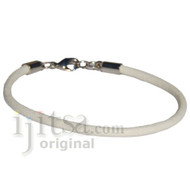 3mm round white leather bracelet or anklet metal clasp