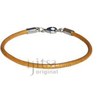 3mm round gold leather bracelet or anklet, rhodium silver plated lobster clasp