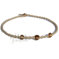 Natural twisted hemp with three brown bone beads choker necklace